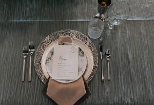 Menu and Place setting for modern traditional wedding