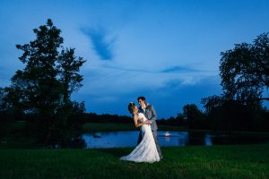 Bride and groom at outdoor event space and wedding venue