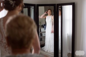 Bride preparing for ceremony in wedding event venue