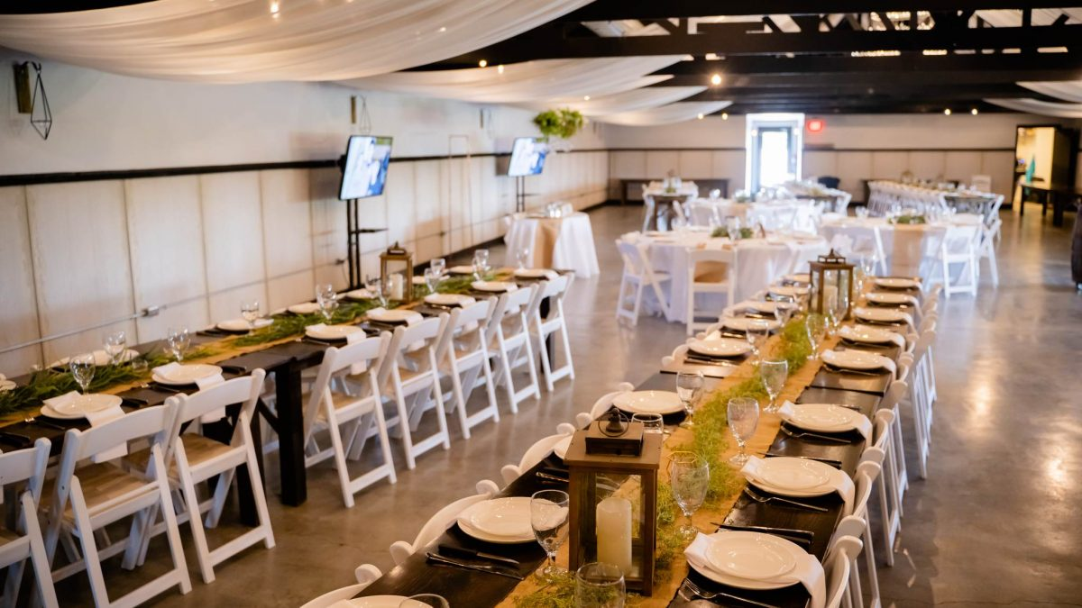 event space set up for a company party